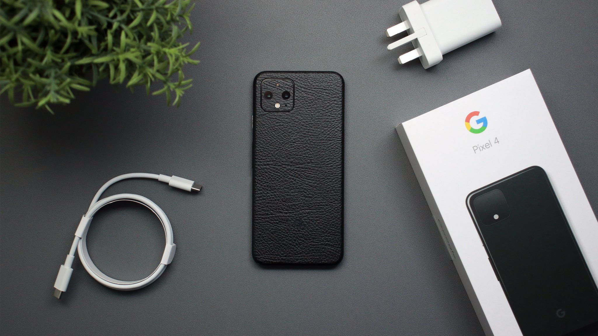 Google Pixel 4 Black Leather Skins