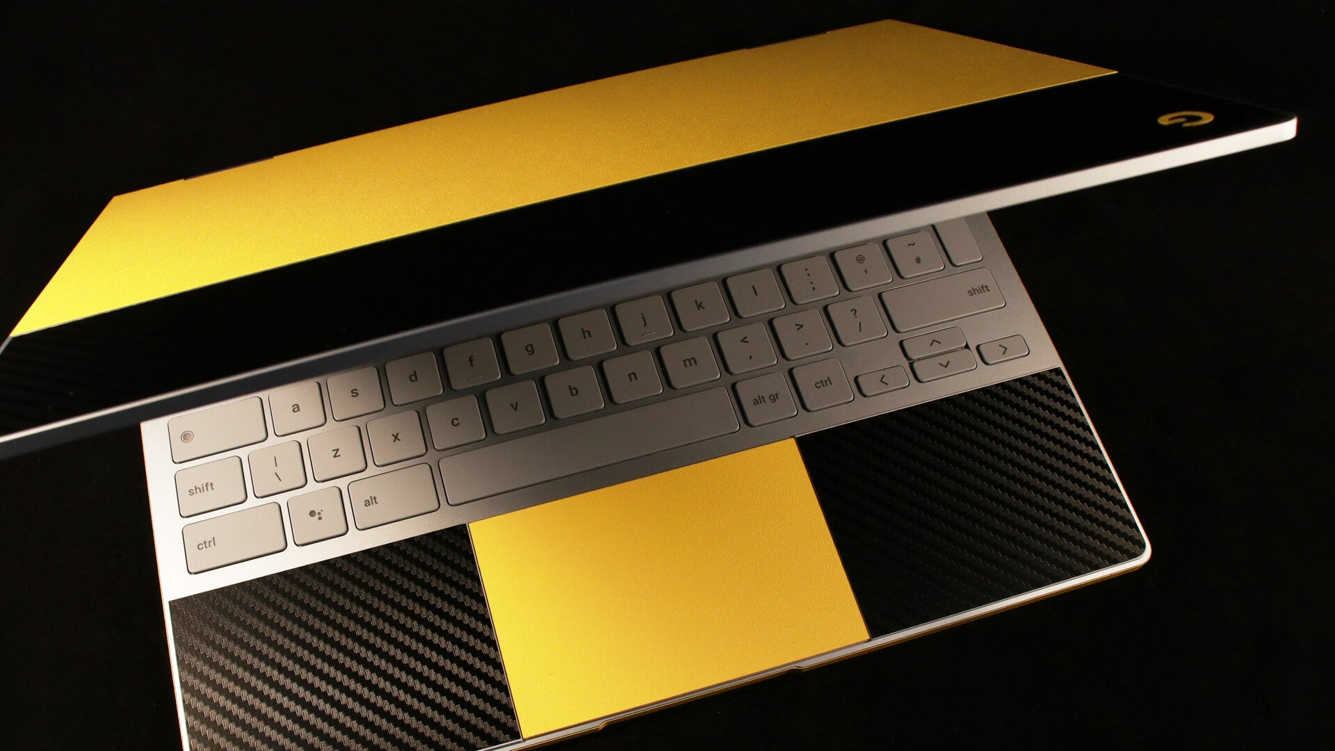 Google Pixelbook True Colour Yellow and Black Carbon Skins
