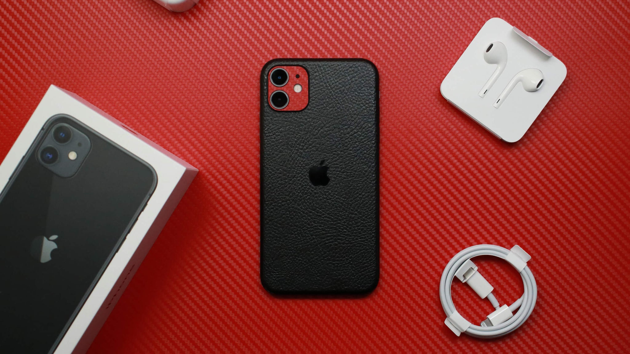 iPhone 11 Textured Black Leather Skins