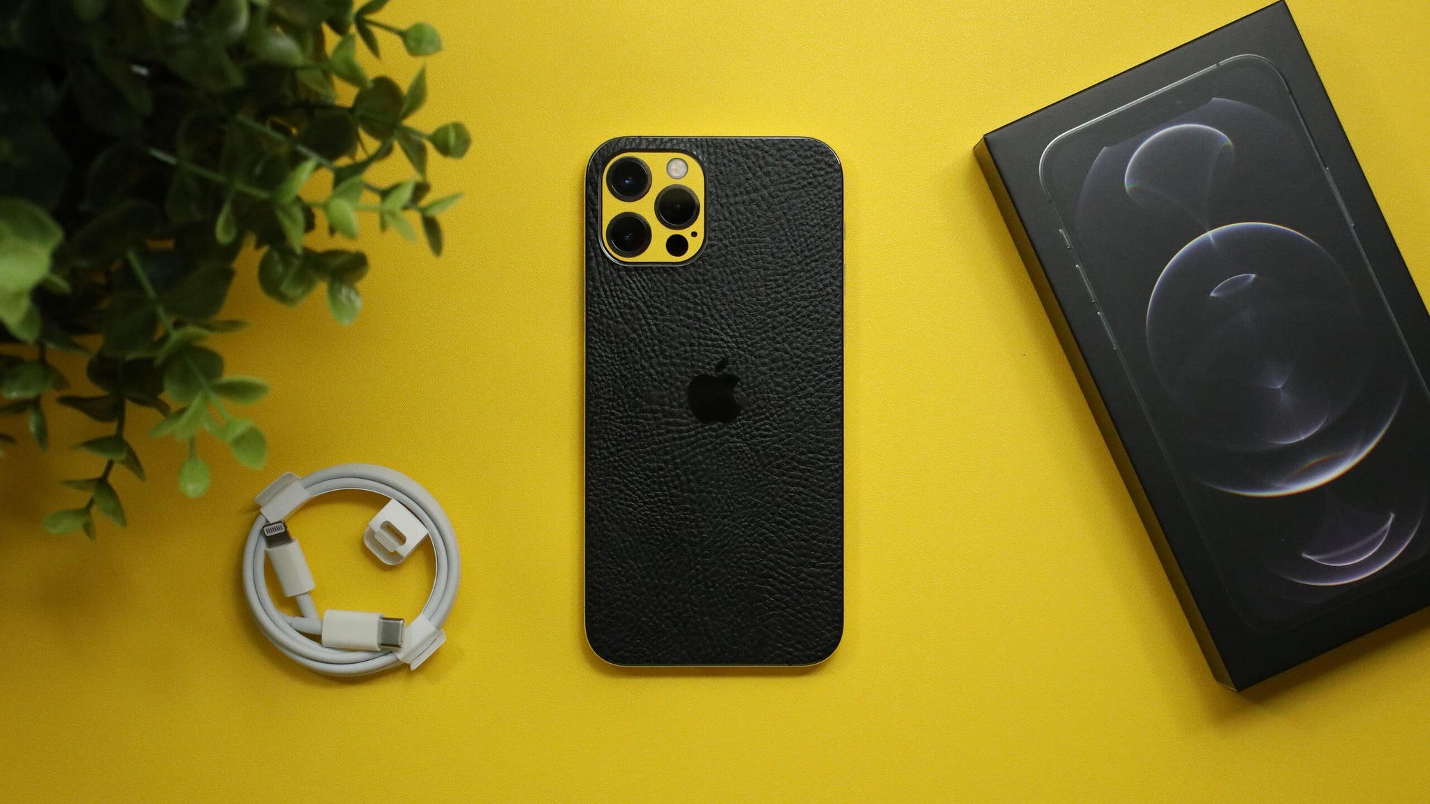 iPhone 12 Pro Black Leather Skins