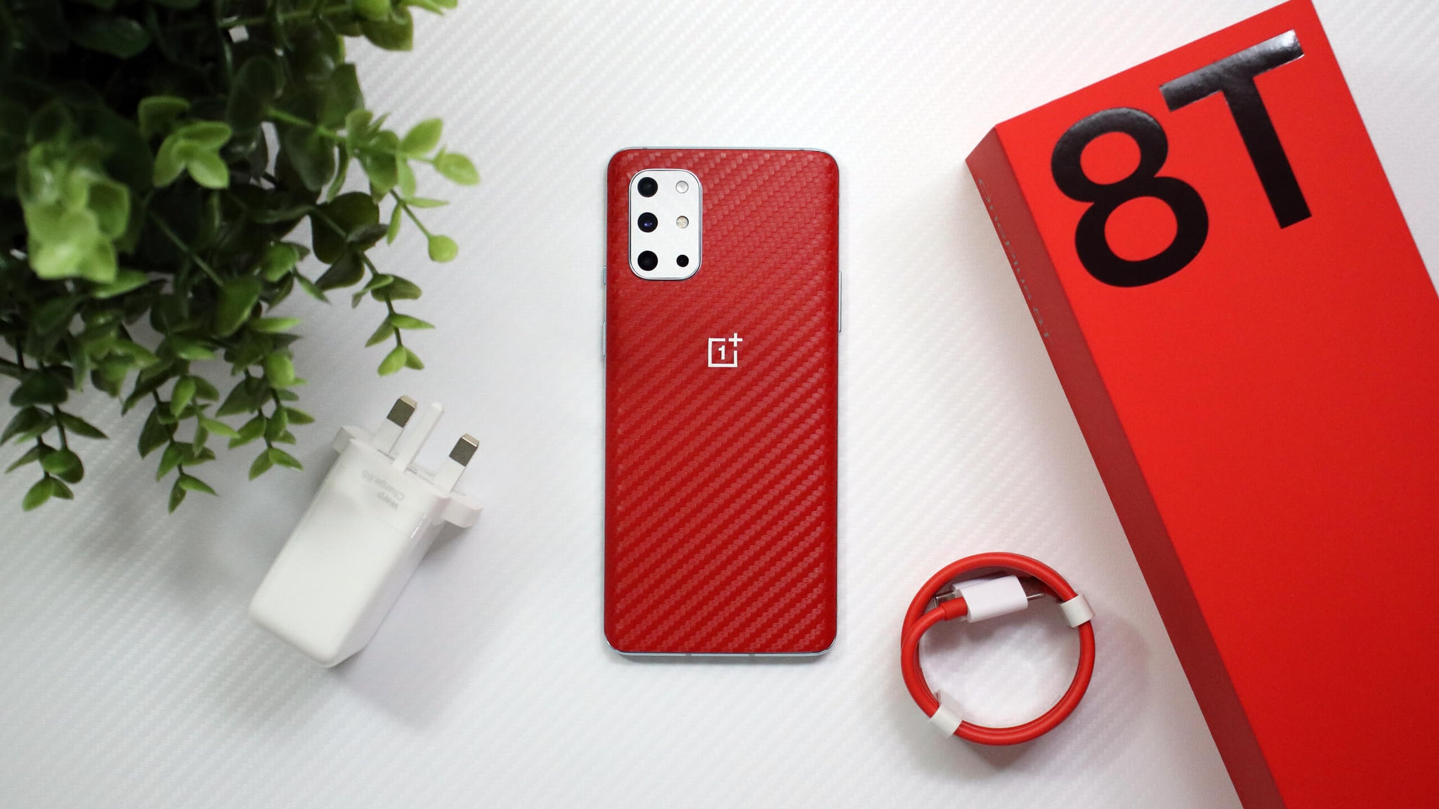 OnePlus 8T Red Carbon Fibre Skins