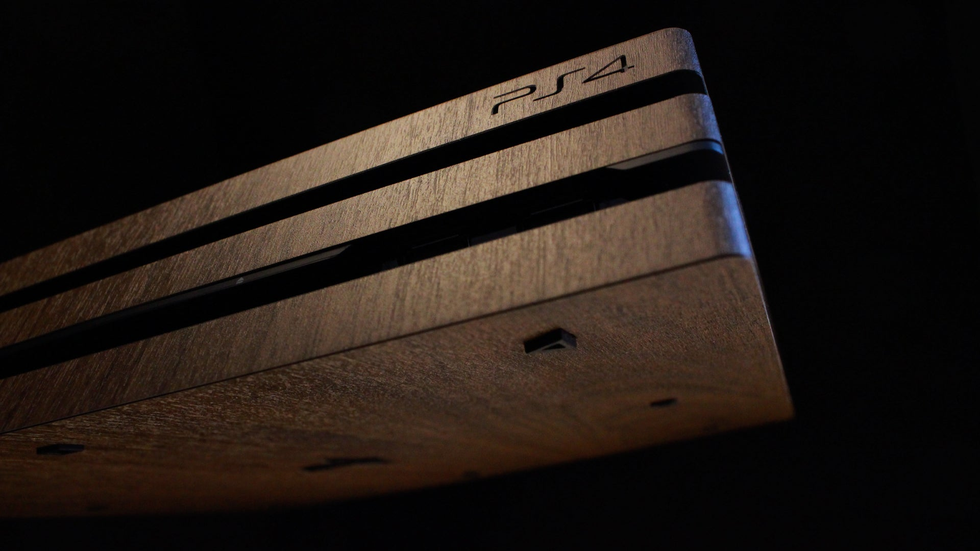 PS4 Pro Dark Oak Wood Skins