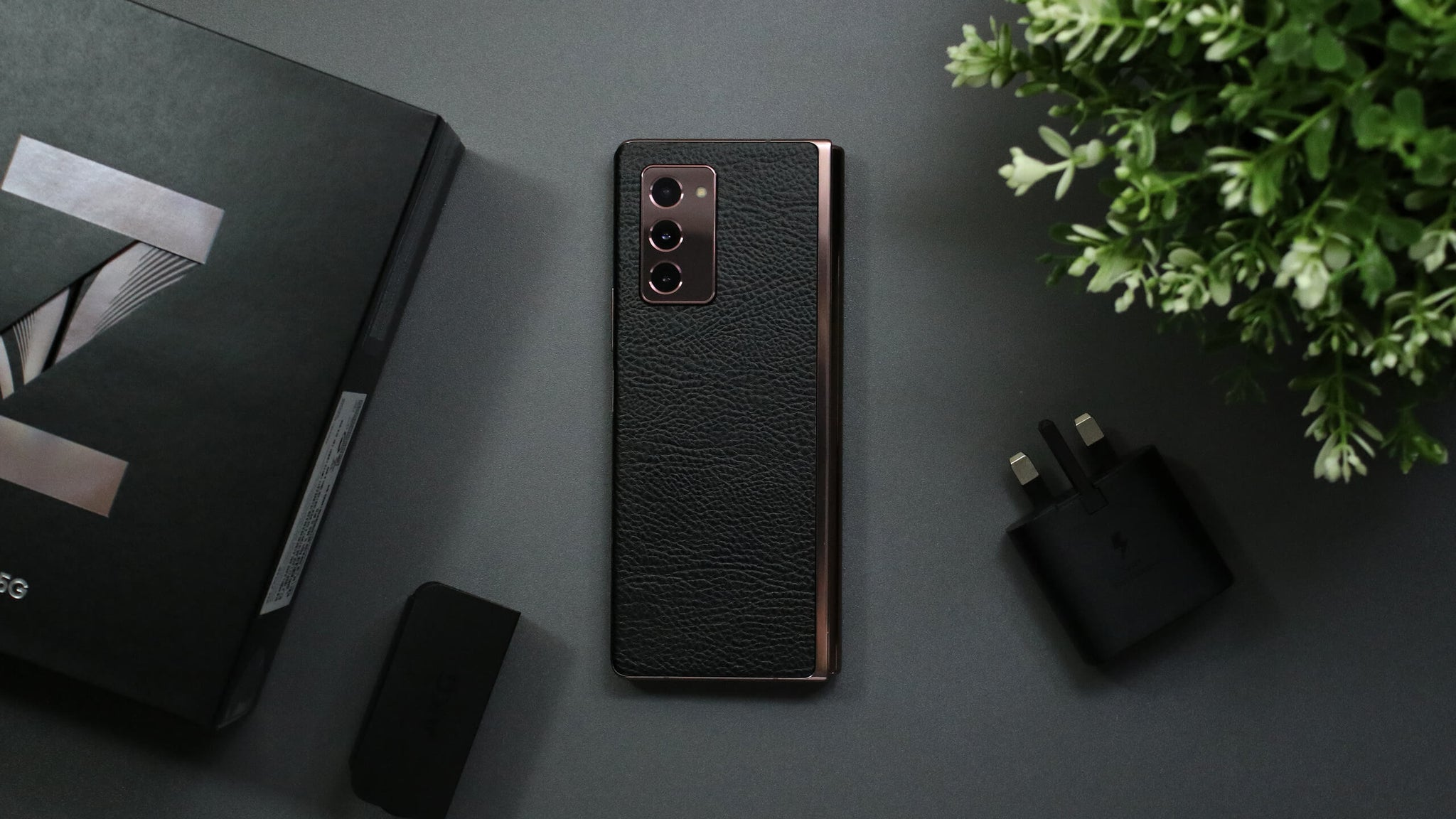 Samsung Galaxy Z Fold 2 Black Leather Skins
