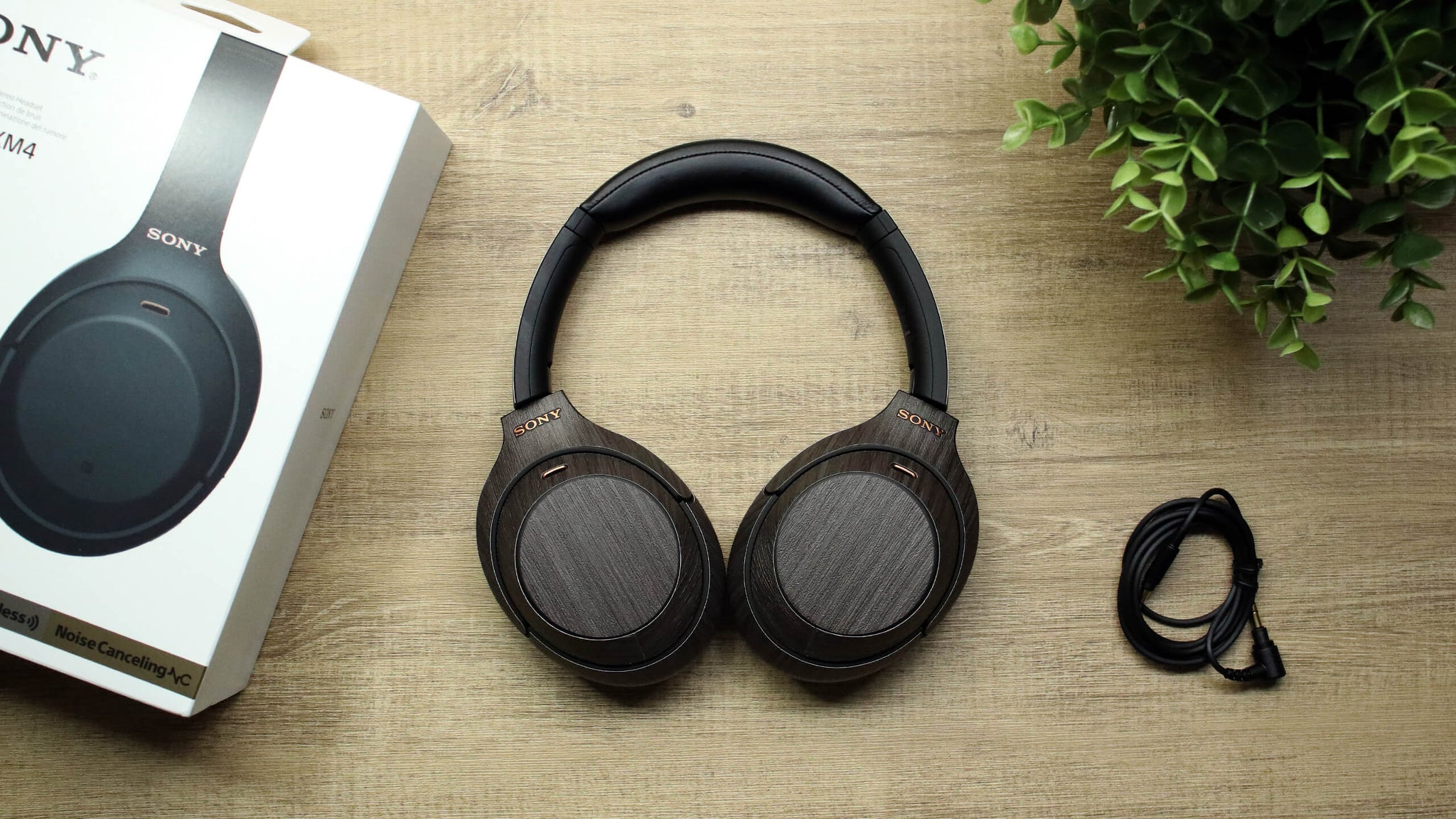 Sony WH1000XM4 Wireless Headphone Silverblack Wood Skins