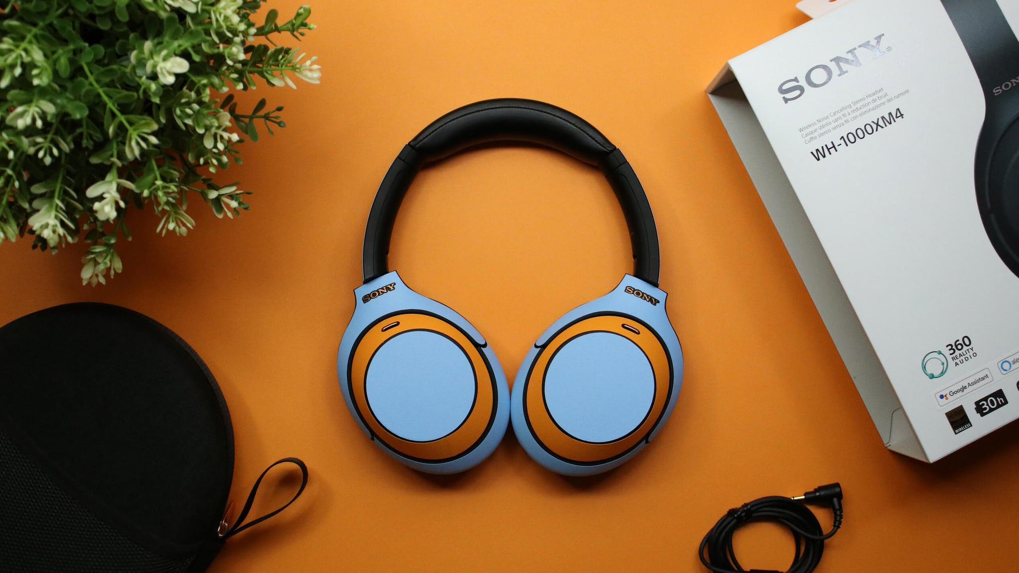Sony WH1000XM4 Wireless Headphone Textured Matt Light Blue Skins