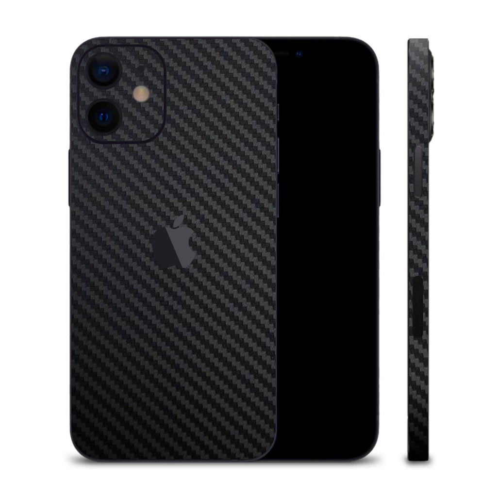 iPhone 12 Black Carbon Fibre Skins