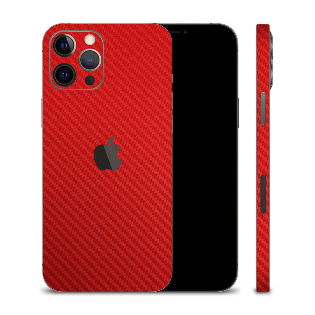 iPhone 12 Pro Red Carbon Fibre Skins