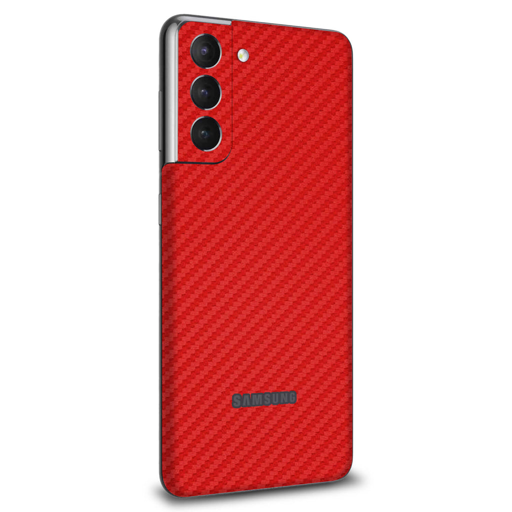 Samsung Galaxy S21 Red Carbon Fibre Skins