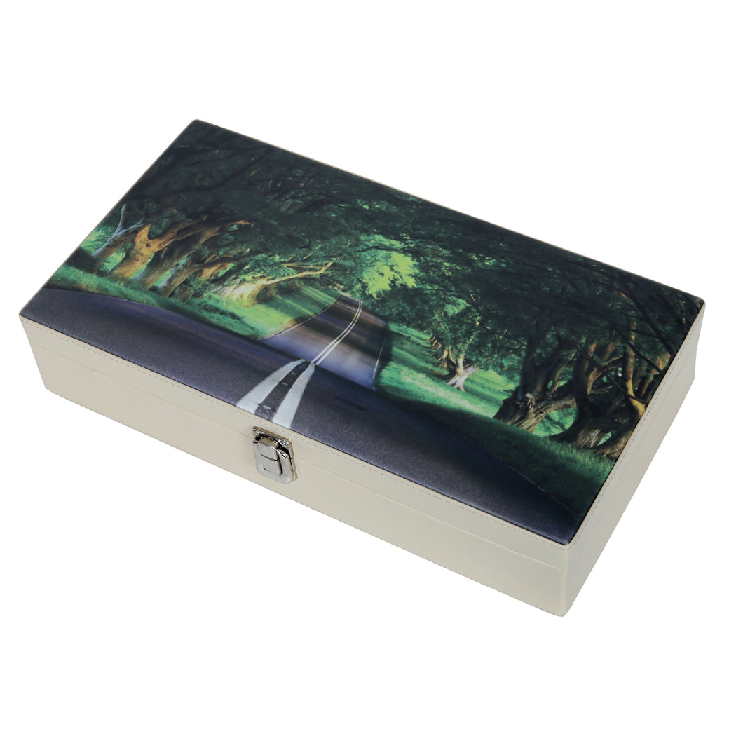 Hard Craft Watch Box Case PU Leather for 12 Watch Slots with Forest View Print