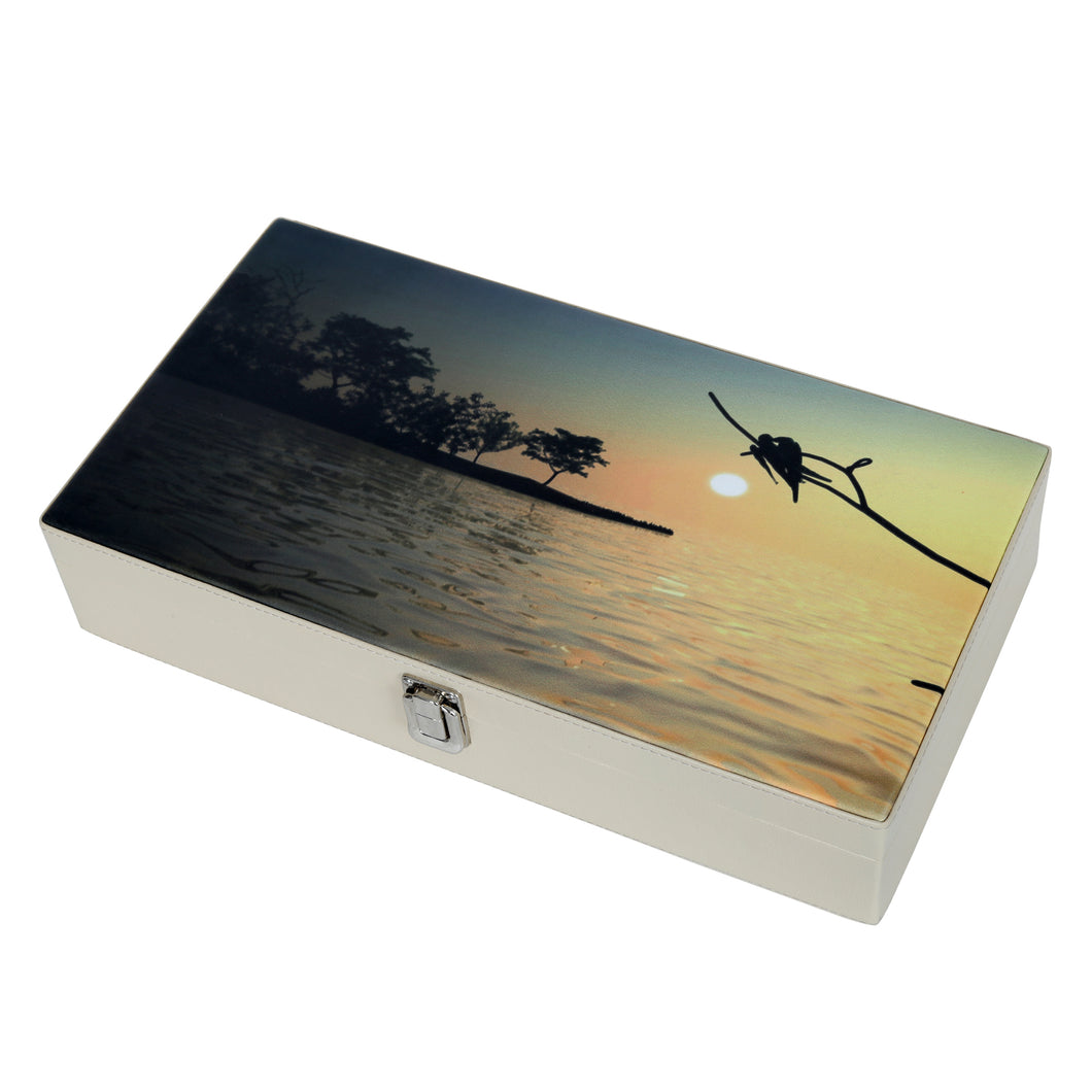 Hard Craft Watch Box Case PU Leather for 12 Watch Slots with Lake View Print