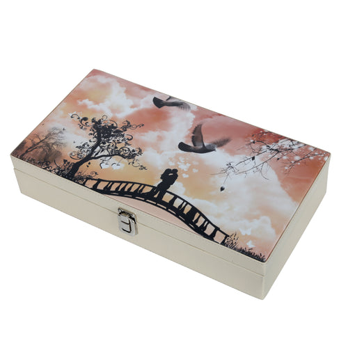 Hard Craft Watch Box Case PU Leather for 12 Watch Slots with Romantic Couple Print