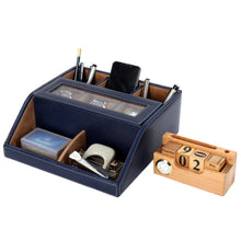 Load image into Gallery viewer, Hard Craft Multi Purpose Desk Organizer with Transparent Window - Blue