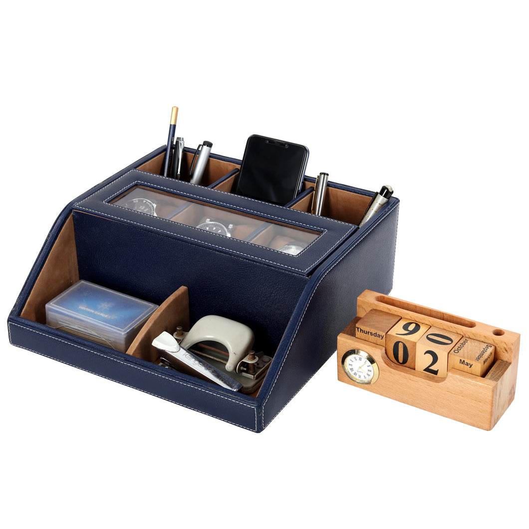 Hard Craft Multi Purpose Desk Organizer with Transparent Window - Blue