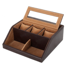 Load image into Gallery viewer, Hard Craft Multi Purpose Desk Organizer with Transparent Window - Brown