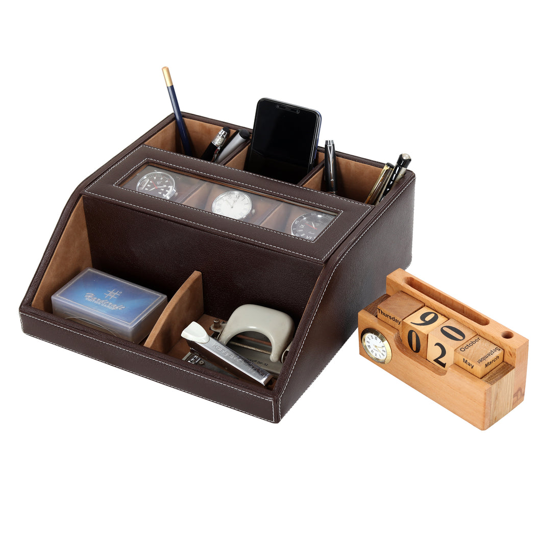 Hard Craft Multi Purpose Desk Organizer with Transparent Window - Brown