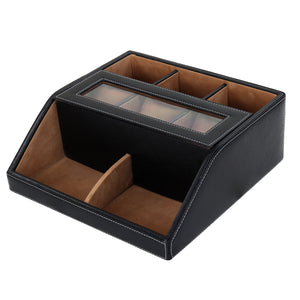 Hard Craft Multip Purpose Desk Organizer with Transparent Window - Black