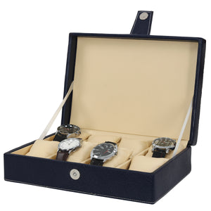 Hard Craft Watch Box Organizer PU Leather for 8 Watch Slots - Blue