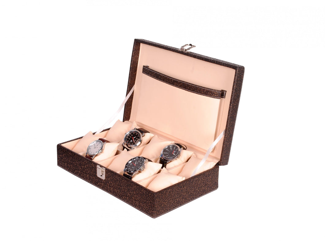 Hard Craft Watch Box Case PU Leather for 10 Watch Slots - Golden Brown