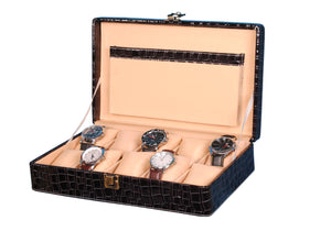 Hard Craft Watch Box Case PU Leather for 10 Watch Slots - Black Croco