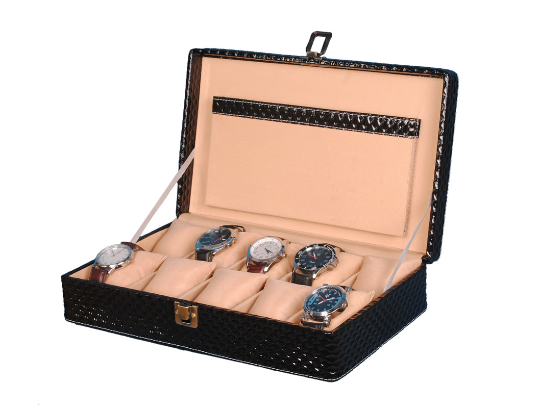 Hard Craft Watch Box Case PU Leather for 10 Watch Slots - Black Matt
