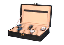 Load image into Gallery viewer, Hard Craft Watch Box Case PU Leather for 10 Watch Slots - Dotted Black