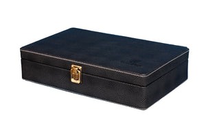 Hard Craft Watch Box Case PU Leather for 10 Watch Slots - Dotted Black