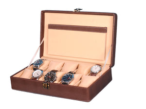 Hard Craft Watch Box Case PU Leather for 10 Watch Slots - Dotted Brown