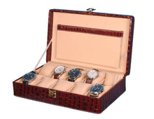 Load image into Gallery viewer, Hard Craft Watch Box Case PU Leather for 10 Watch Slots - Maroon Croco