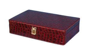 Hard Craft Watch Box Case PU Leather for 10 Watch Slots - Maroon Croco