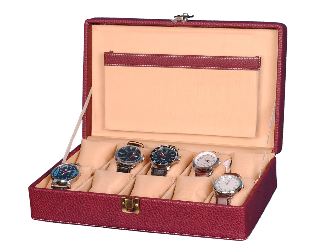 Hard Craft Watch Box Case PU Leather for 10 Watch Slots - Dotted Maroon