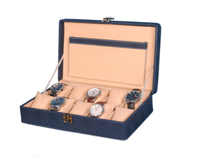 Hard Craft Watch Box Case PU Leather for 10 Watch Slots - Dotted Blue