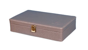 Hard Craft Watch Box Case PU Leather for 10 Watch Slots - Grey Croco