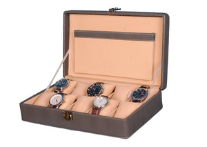 Hard Craft Watch Box Case PU Leather for 10 Watch Slots - Dotted Grey