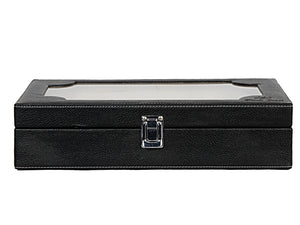 Hard Craft Watch Box Transparent Case PU Leather for 10 Watch Slots - Black