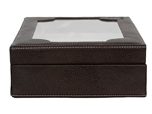 Hard Craft Watch Box Transparent Case PU Leather for 10 Watch Slots - Brown