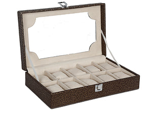 Hard Craft Watch Box Transparent Case PU Leather for 10 Watch Slots - Golden Brown