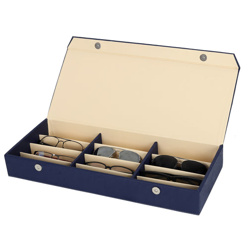 Hard Craft Sunglass Storage Organizer Vegan Leather for 12 sunglass slots - Blue
