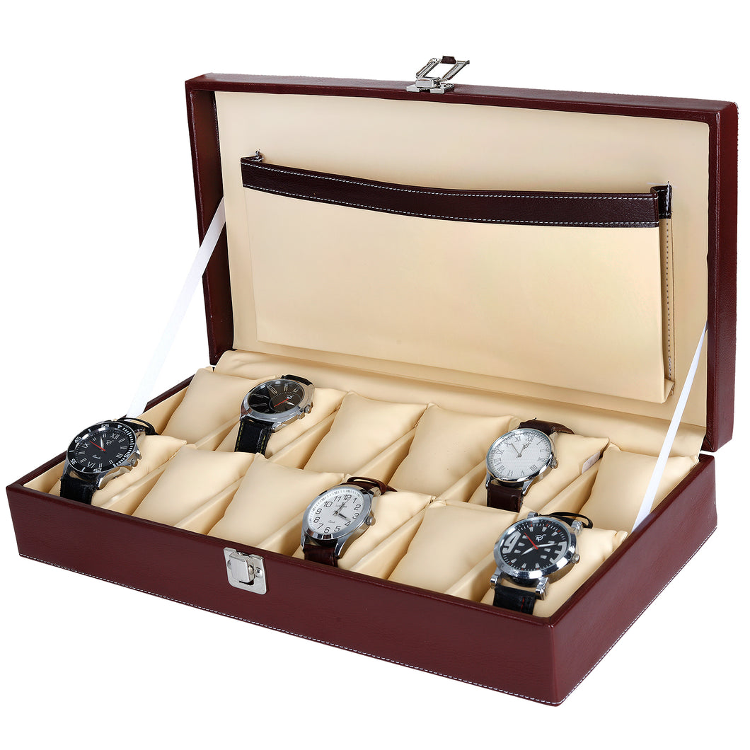 Hard Craft Watch Box Case PU Leather for 12 Watch Slots - Maronn