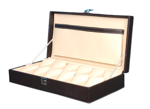 Hard Craft Watch Box Case PU Leather for 12 Watch Slots - Brown