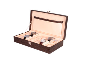 Hard Craft Watch Box Case PU Leather for 12 Watch Slots - Golden Brown