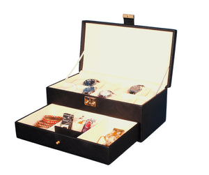 Hard Craft Watch Box Organizer PU Leather for 12 Watch Slots with Jewellery Display Drawer organizer - Black