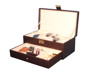 Hard Craft Watch Box Organizer PU Leather for 12 Watch Slots with Jewellery Display Drawer organizer - Brown