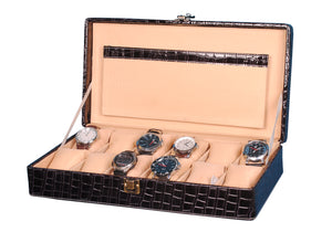 Hard Craft Watch Box Case PU Leather for 12 Watch Slots - Black Croco