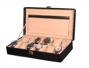 Hard Craft Watch Box Case PU Leather for 12 Watch Slots - Black Matt