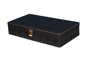 Hard Craft Watch Box Case PU Leather for 12 Watch Slots - Dotted Black