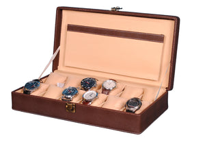 Hard Craft Watch Box Case PU Leather for 12 Watch Slots - Dotted Brown