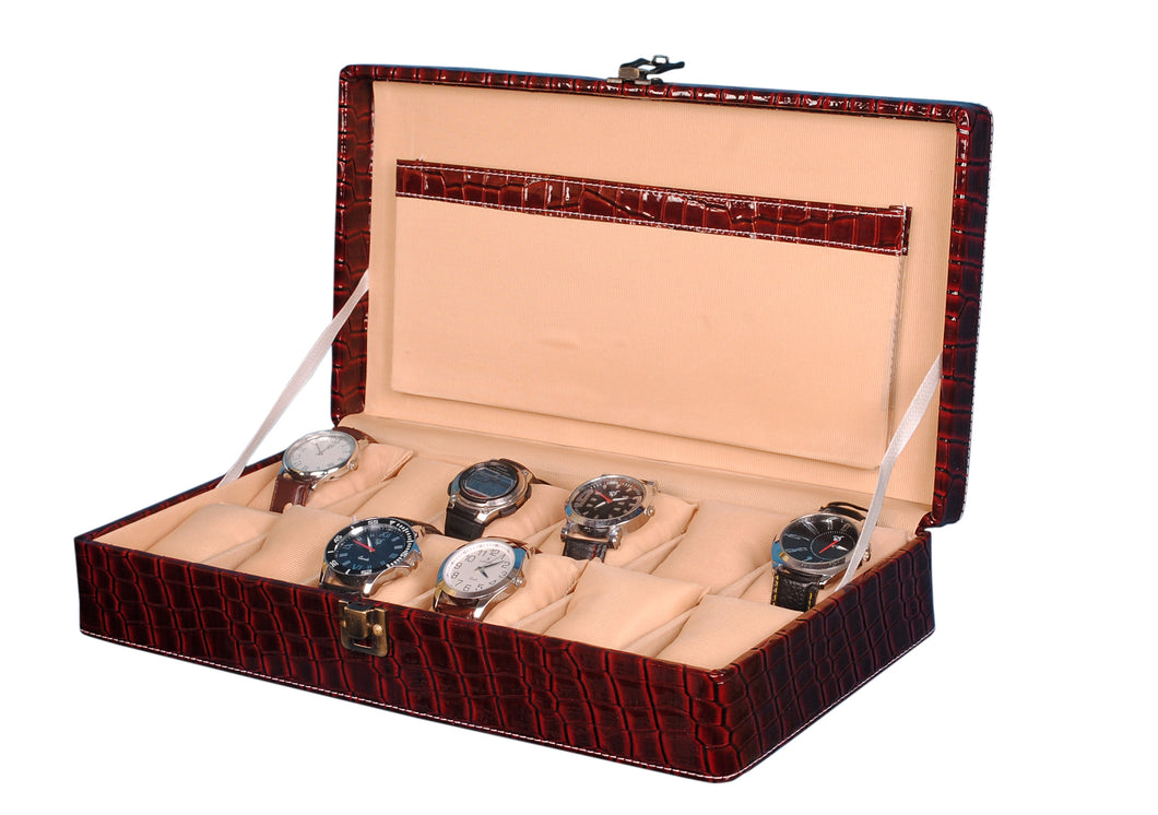 Hard Craft Watch Box Case PU Leather for 12 Watch Slots - Maroon Croco