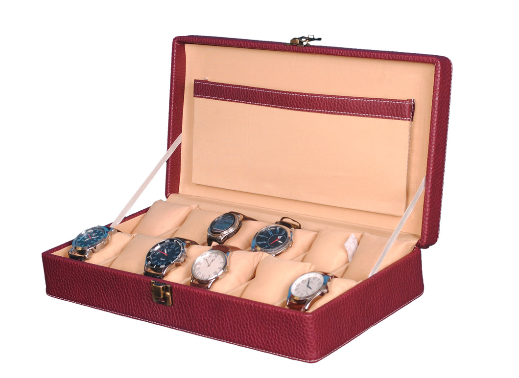 Hard Craft Watch Box Case PU Leather for 12 Watch Slots - Dotted Maroon