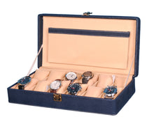 Load image into Gallery viewer, Hard Craft Watch Box Case PU Leather for 12 Watch Slots - Dotted Blue