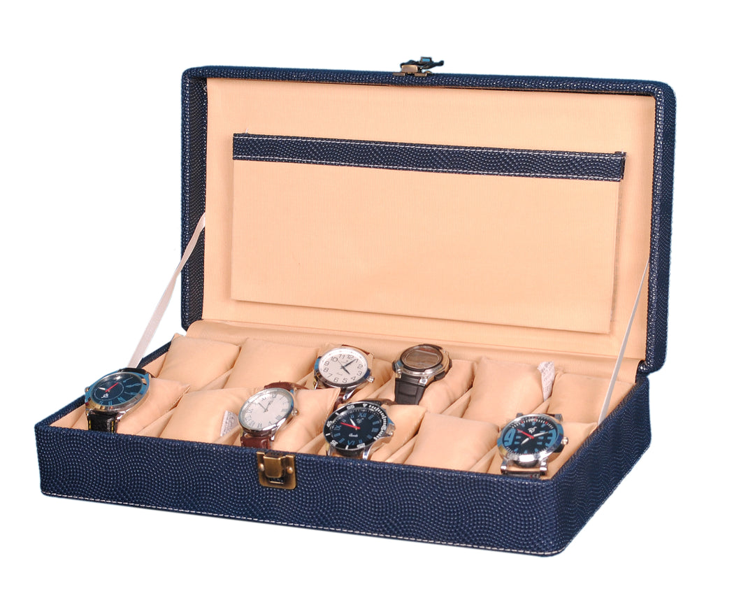 Hard Craft Watch Box Case PU Leather for 12 Watch Slots - Dotted Blue